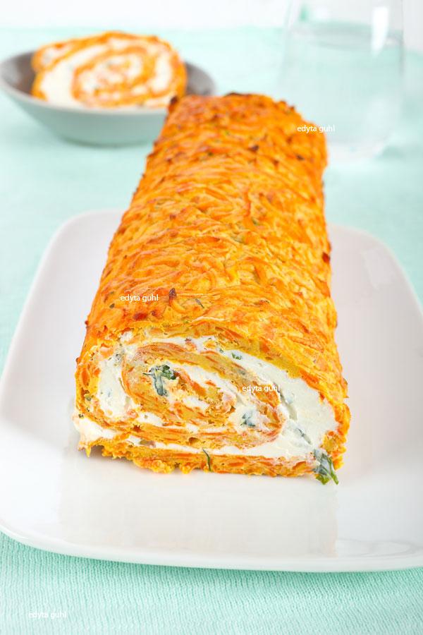 Rezept für Karotten- Rolle mit Frischkäse- Füllung. Edyta Guhl.