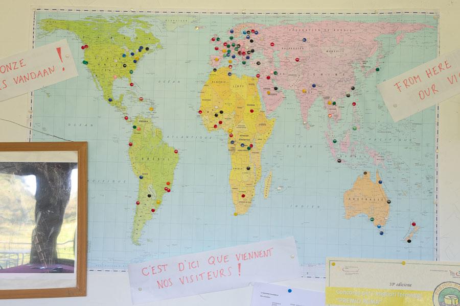 Eine Weltkarte der Besucher der Bergerie Acremont. Edyta Guhl.