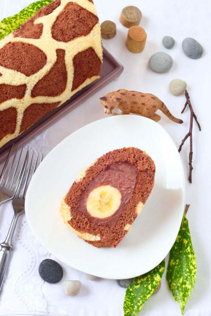 Giraffen- Biskuitrolle mit Banane. Edyta Guhl.