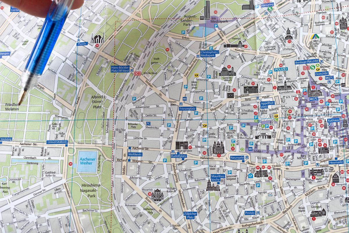 Melaten. Stadtplan Köln. Edyta Guhl.