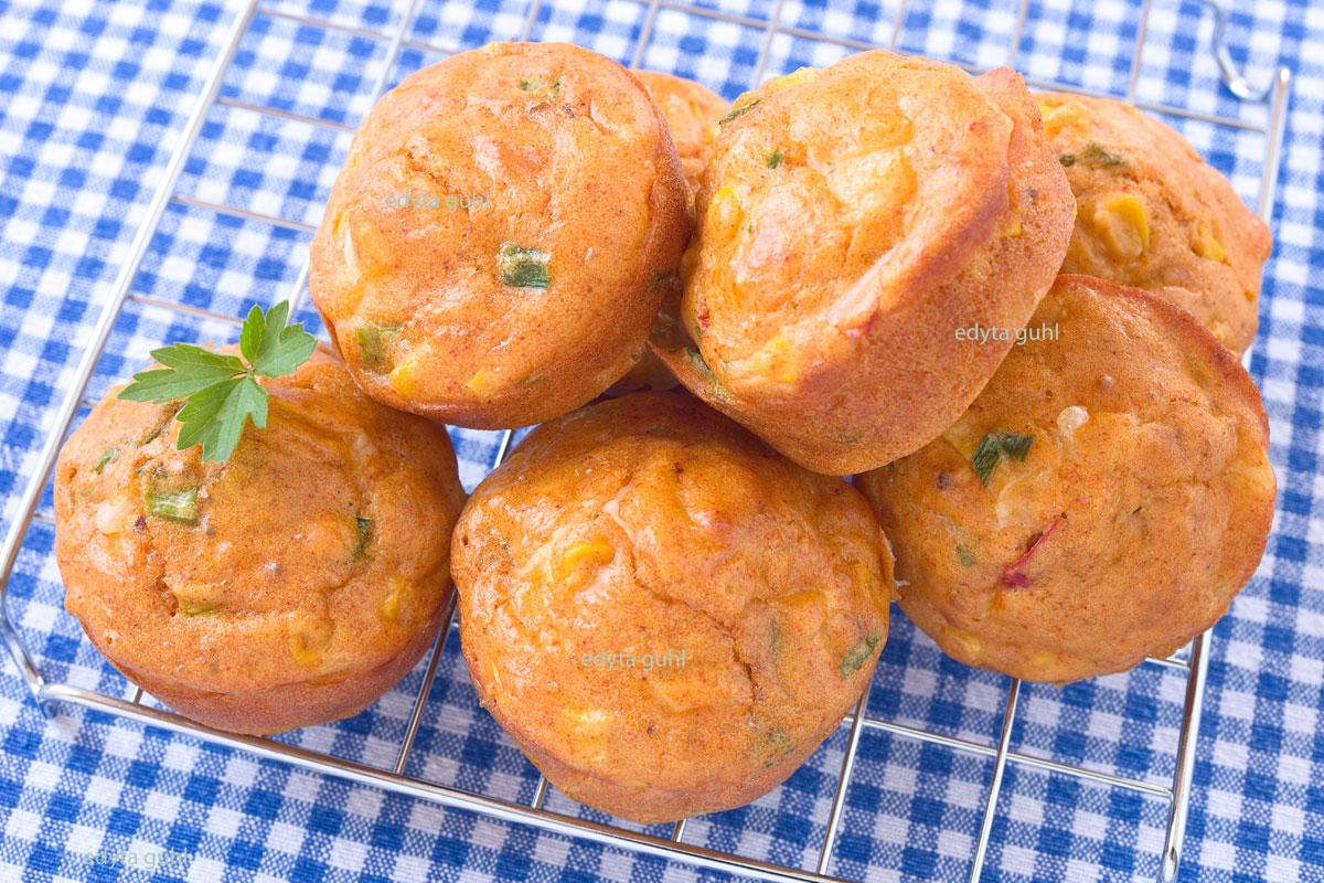 Muffins mit Mais. Herzhafte Muffins. Edyta Guhl.