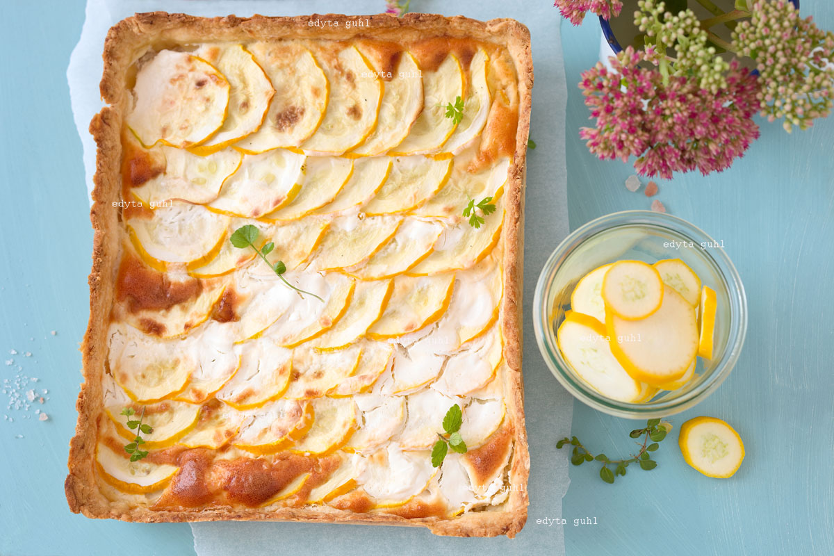 Leckere Zucchini- Tarte. Edyta Guhl. Rezept für Gemüse- Tarte.