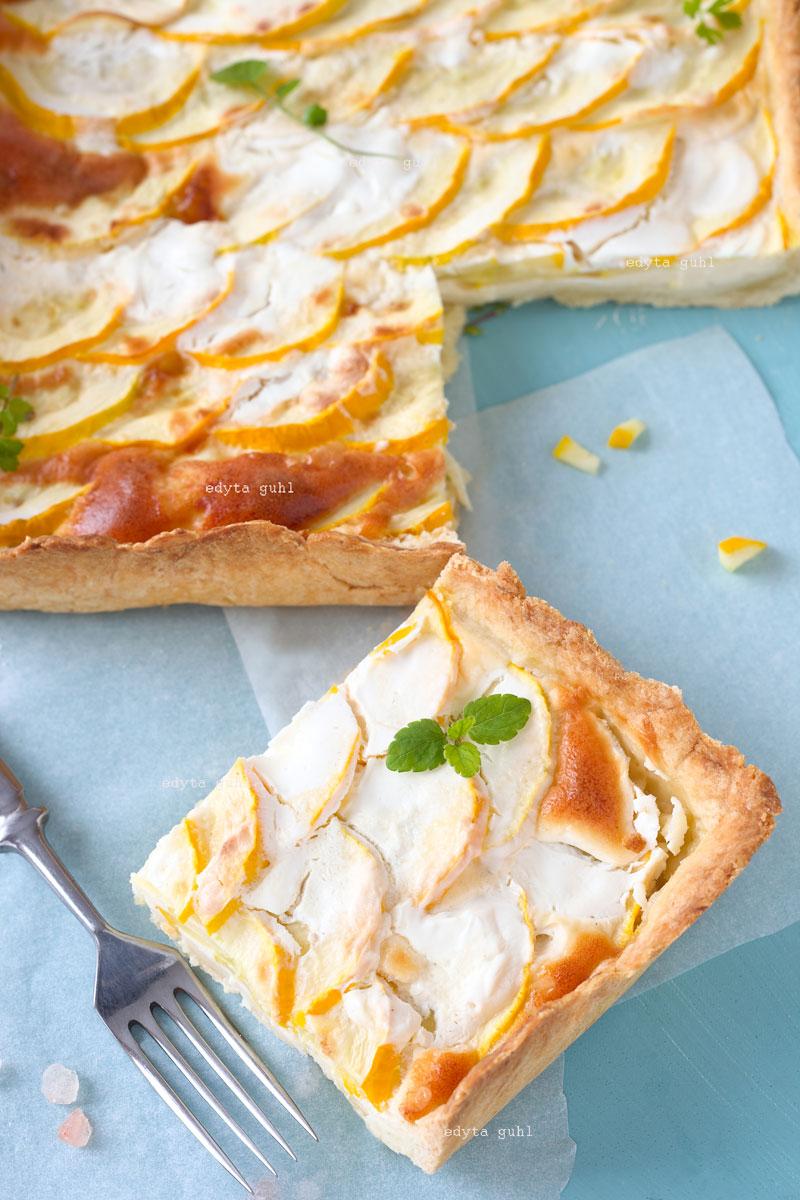 Gemüse- Kuchen. Zucchini- Tarte mit Eier- Sahne. Edyta Guhl.