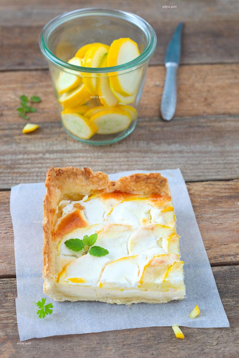 Mürbeteig für eine Tarte. Zucchini- Tarte. Rezept mit gelben Zucchini.