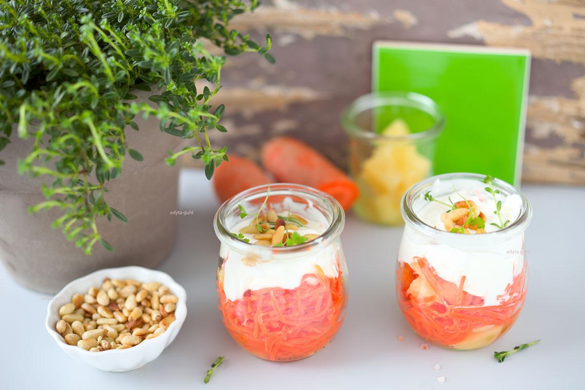 Rezepte für Möhren- Salat. Möhren- Salat mit Ananas. Edyta Guhl.