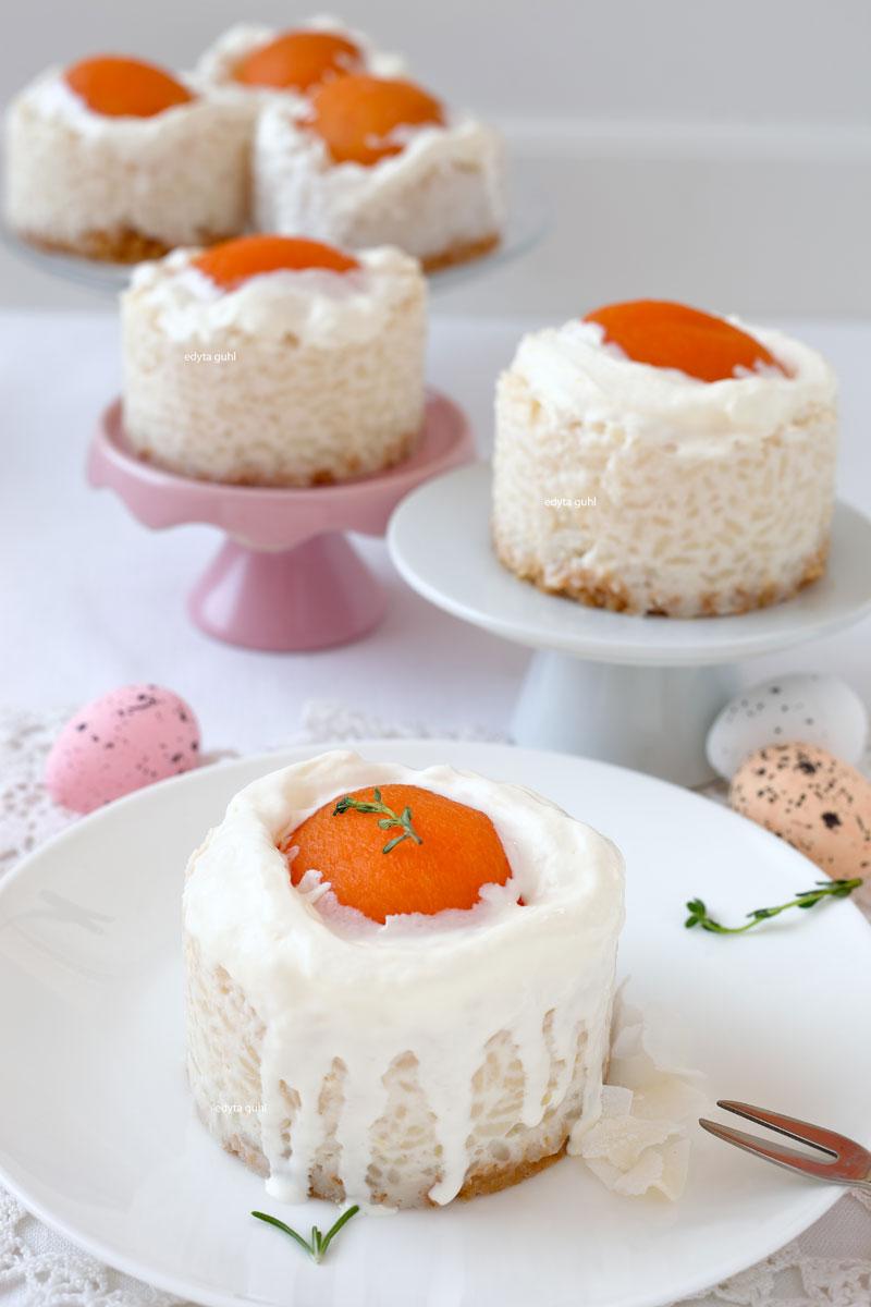 Oster- Rezepte. Milchreis- Törtchen. Spiegeleier- Dessert. Edyta Guhl.