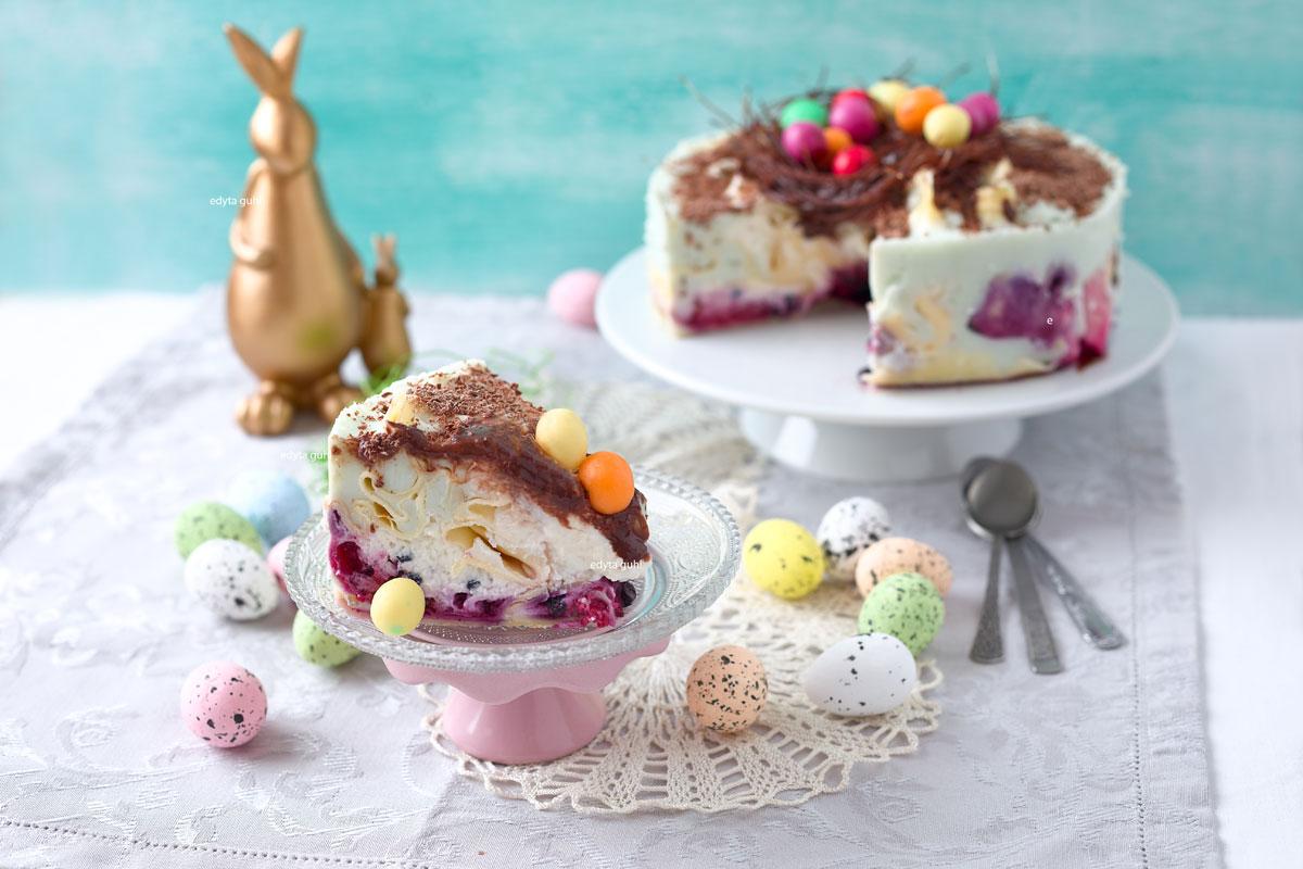 Rezepte zu Ostern. Edyta Guhl. Bunte Eierkuchen- Torte.